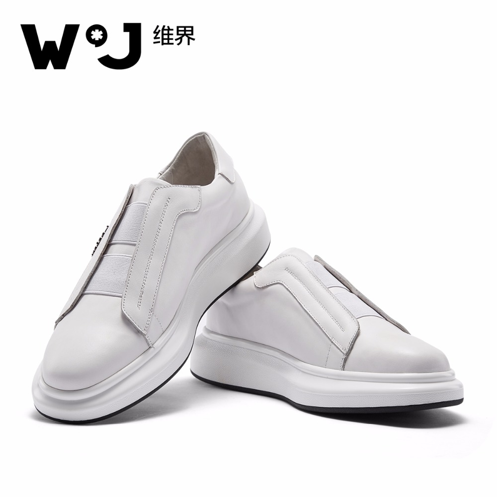 W.J Genuine Cow Leather white casual Shoes for Men Spring Summer Thick Sole Breathable White Loafers sports shoes for Men  fashion womens casual shoes 2017 spring summer breathable women canvas shoes brand soft thick sole classic black white th085