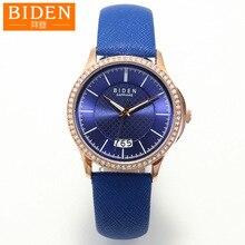 Biden relógios das mulheres da marca de couro genuíno azul das senhoras de pulso de quartzo calendário à prova d' água luminosa movimento Cidadão