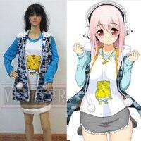 Anime Super Sonic Cosplay Kostüm Parti Lolita Elbise Tiger T-shirt + Kedi Ceket + Etek Sürümü Set Rahat Bütün Takım Elbise