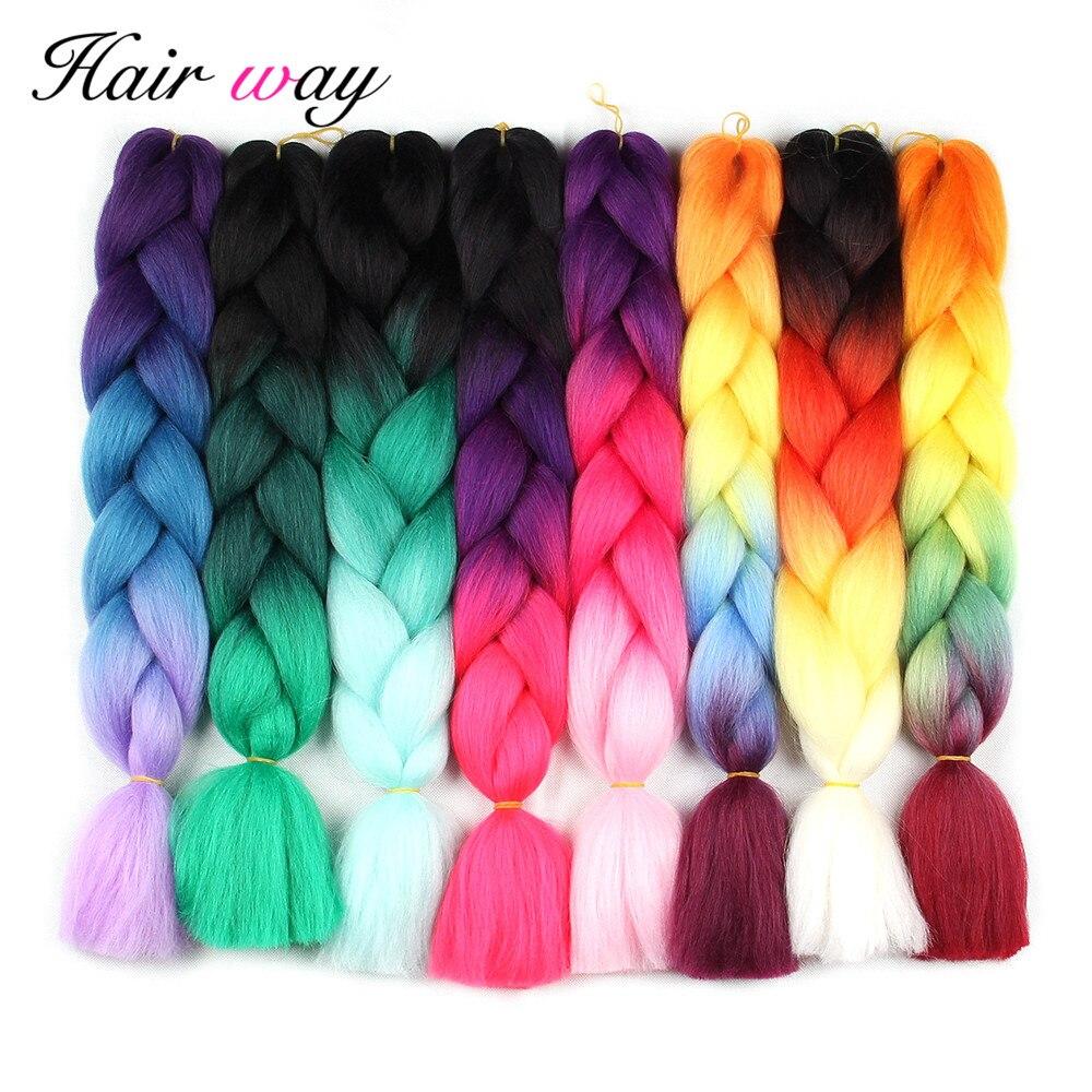 Hair Way Ombre Kanekalon Braiding Hair Extensions 24inch 100g Synthetic Jumbo Braids Hair Fiber Pink Black Blue Green 1pce