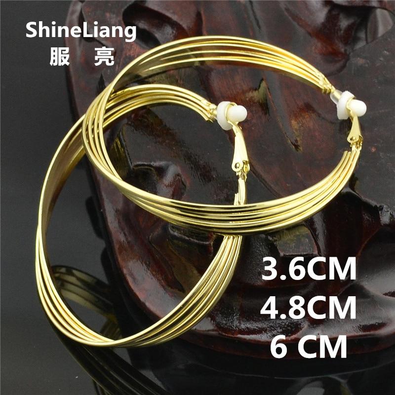 Klip telinga Anting untuk wanita tanpa tindik Tidak Ada lubang telinga Beberapa bentuk benang Korea fashion kepribadian klub malam emas perak