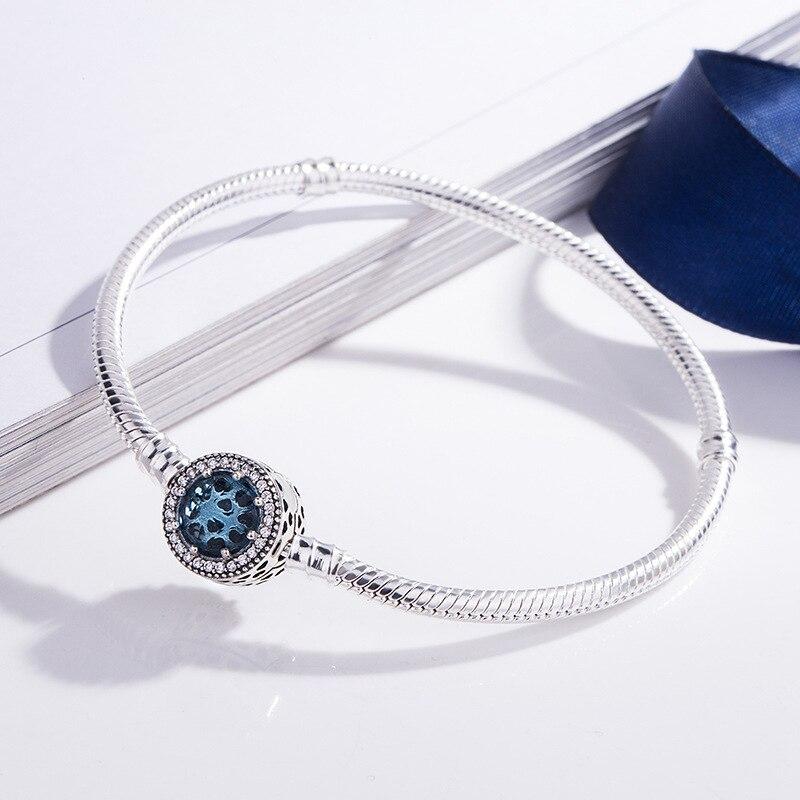 7cdc27938106 Original 925 Plata de Ley calado corazones radiantes con cristal azul  pulsera Pandora brazalete Fit ...