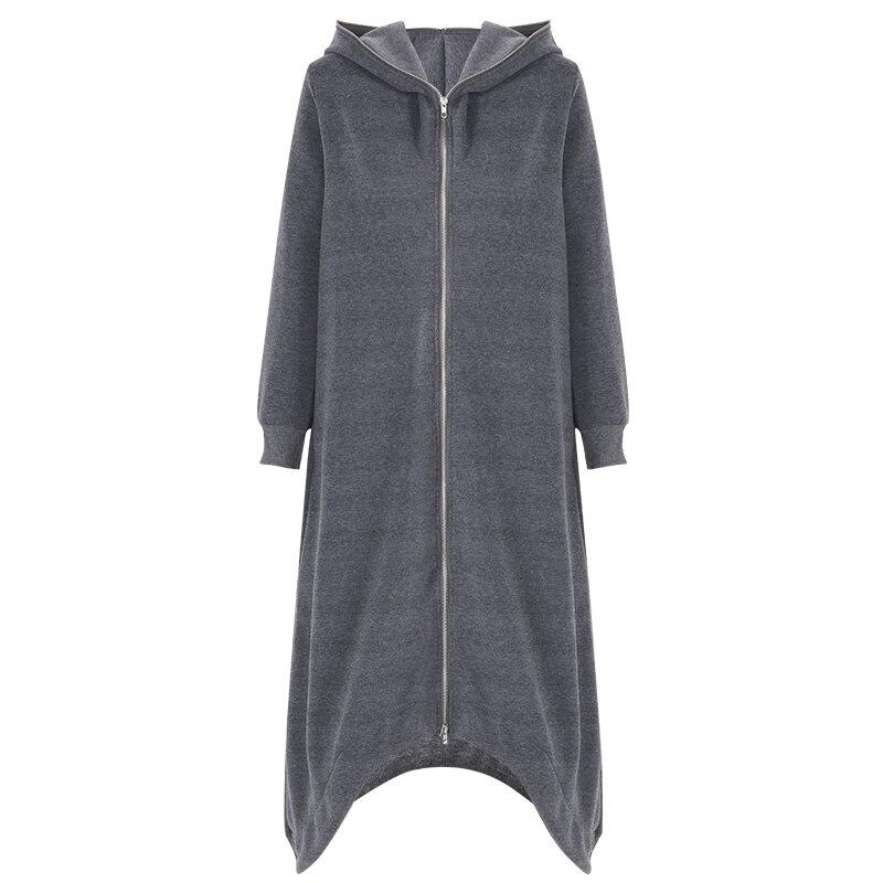 HTB19emtnnTI8KJjSsphq6AFppXaB 2019 ZANZEA Winter Hoodies Sweatshirt Women Hooded Zip Long Sleeve Fleece Irregular Boyfriend Pockets Long Coat Jacket Plus Size