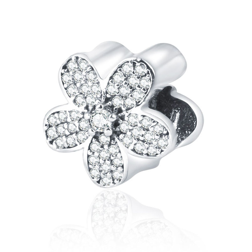2017 Winter Hot Sale Fits Pandora Charms Bracelet 100% 925 Sterling Silver Bead Flower Charm with Cubic Zircon DIY Jewelry