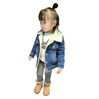 Boys and girls thick denim winter jacket, winter clothing baby velvet lining for 1 6 years old baby,free shipping fashion cloth