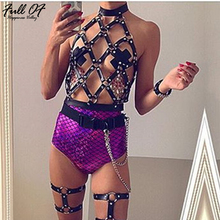 Sexy PU Hollow crop top women metal Body chest chain Black perspective shirt halter Night club party Rivet tank top cropped Hot