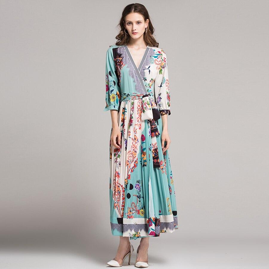 De Floral Longue Xxl Longues D'été Qualité Wrap Rayé Pli Vintage Col Robe Haute À Sexy Manches En 2018 Élégant V Imprimer wExgnS7p