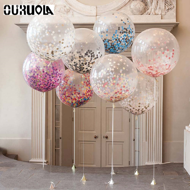 36 Inch Giant Confetti Balloons Rose Gold Clear Balon Inflatable Wedding Mariage Happy Brithday Party Decoration Latex Ballon