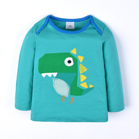 BJT785, Dinosaur, 6pcs/lot Children boys T shirt, 100% Cotton knitted long sleeve Tee Top for 1-6 year.
