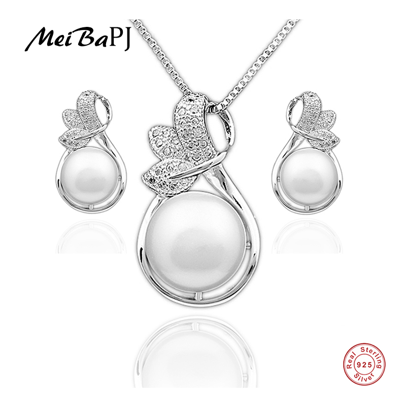 MeiBaPJ Simple Freshwater Pearls Jewelry Set Real S925 Sterling - Joyas - foto 1