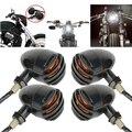4 unids piezas motocicleta Retro negro parrilla bala ámbar bombilla motocicleta luz indicadora de señal de giro para Harley Honda Suzuki Kawasaki