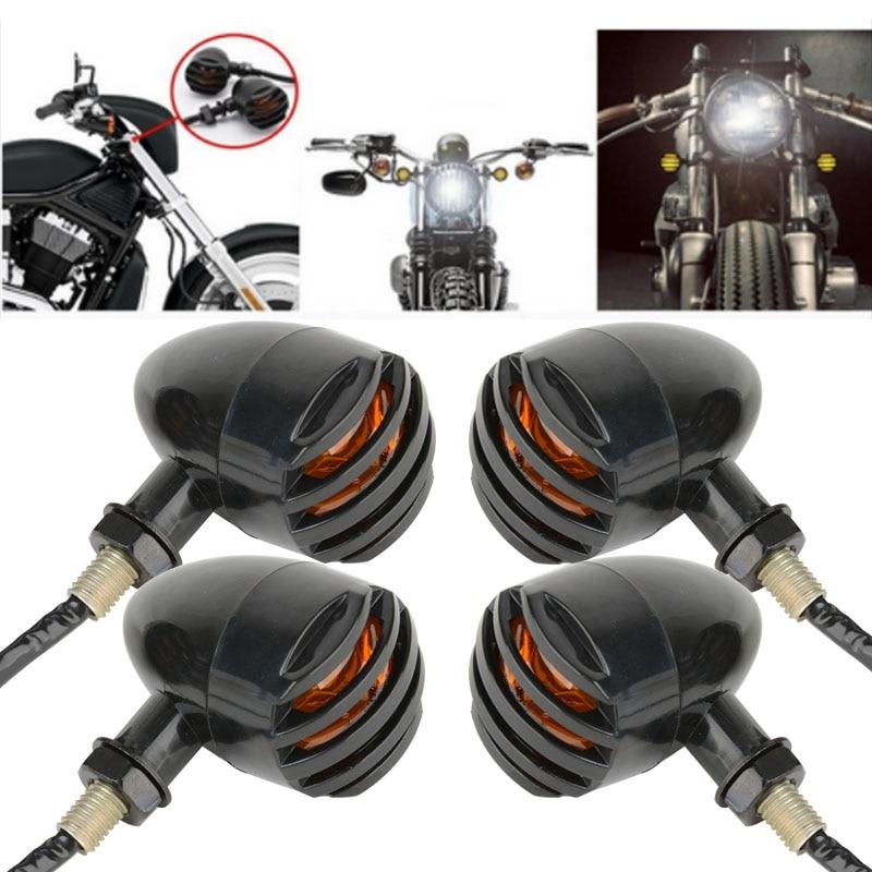 4PCS אופנוע רטרו שחור גריל כדור אמבר נורה אופנוע הפעל אות מחוון אור עבור הארלי הונדה סוזוקי קוואסקי