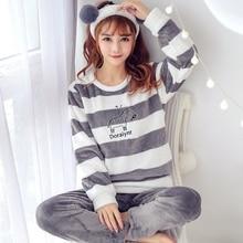 2 PIECE Pajama Set Nightwear Pijama Home Suit women Warm Pyj