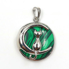FYJS Unique Silver Plated Crescent Moon Cute Cat Malachite Stone Round Bead Pendant Modern Accessories