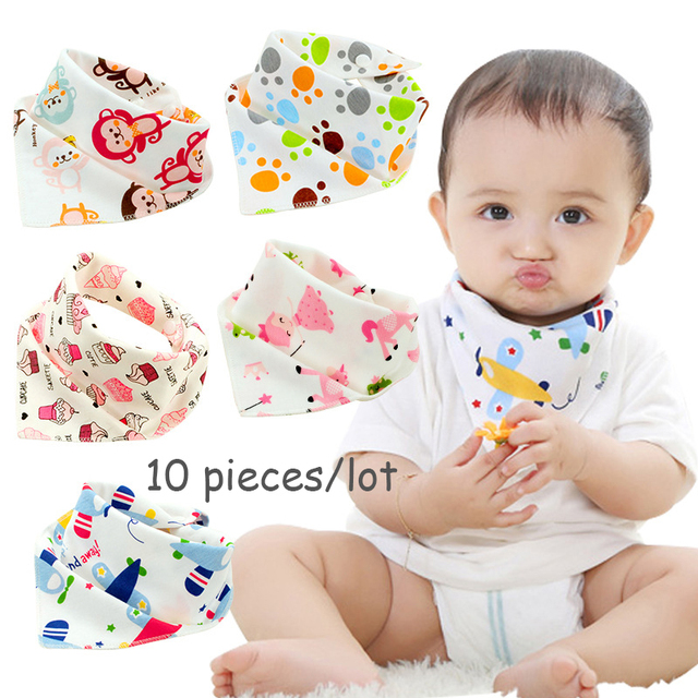 10pieces/lot Cotton Baby Bandana Bibs Feeding Saliva Soft Burp Cloth Boys Girls Triangel Scarf Towel for Infant Newborn Bebe