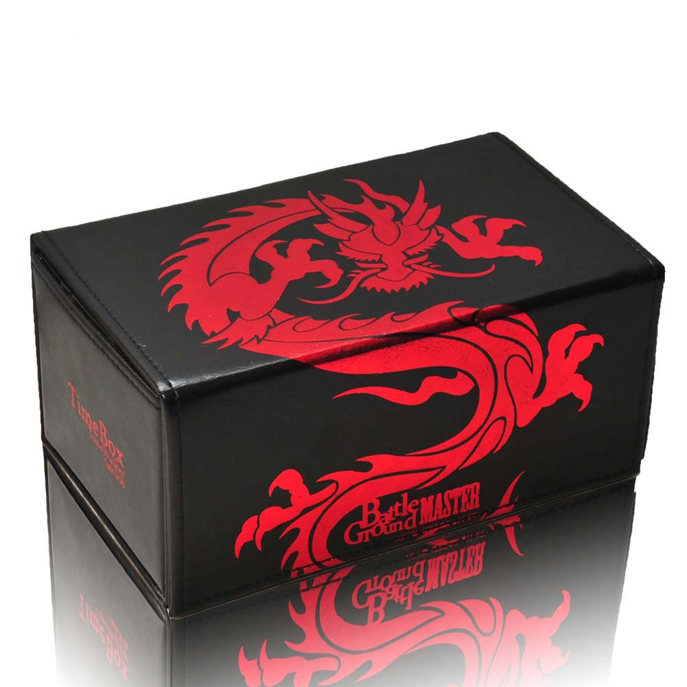 TW Genniue Leather Half Open Red Dragon Deck Box Suitable for The Game King Face Showdown Hold 180m Cards