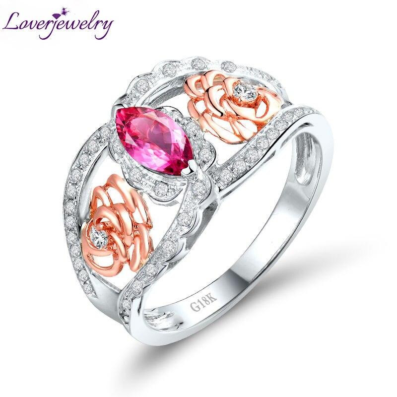 18Kt deux tons or Marquise rose Tourmaline bague de fiançailles avec diamant véritable pierres précieuses bijoux pour les femmes SR00133