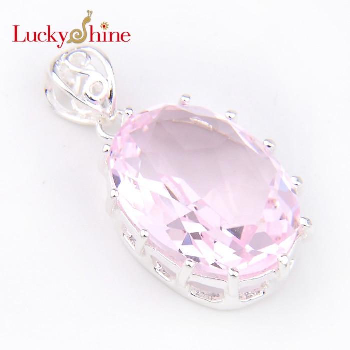New Arrive elegant charm silver -plated Huge Pink Crystal Zirconia wedding jewelry dangle crystal pendants