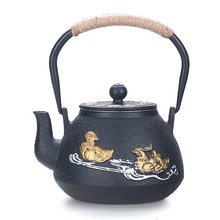 Handmade iron pot mandarin duck Chinese style retro teapot Japanese craft cast uncoated kettle tea set