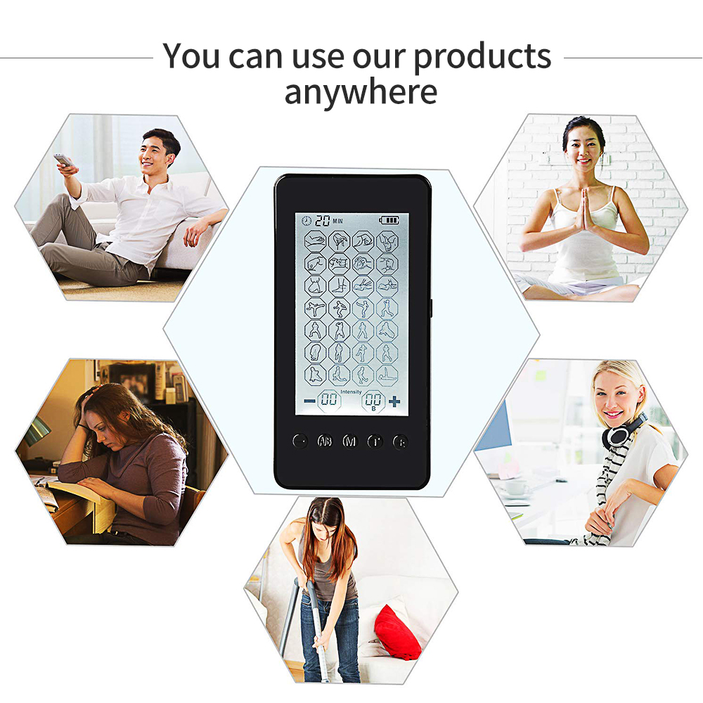 Thérapie musculaire Stimulation dix unité 24 Modes-Massage électrique soulagement de la douleur réglable léger écran LCD gris argent Compact