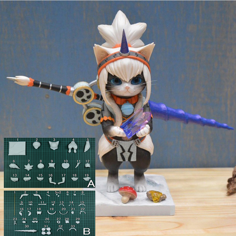 Monster Hunter Unicorn GK GARAGE KIT Airou Cat White Model 1/4 GK Resin Model Doll Action Figure Collection Model Toys game monster hunter gk white model 1 6 gk resin model doll action figure collection model toys