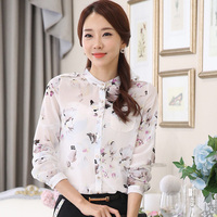 Classic Transparent Lady White Sexy Blouses BIG Size S 4XL Flower Printed OL Clothing Women Fashion