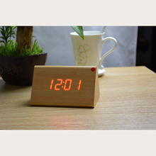 LED Lighting Alarm Clock Desktop Digital Clock Wood, with Voice Control Timing Function of Home Decoration