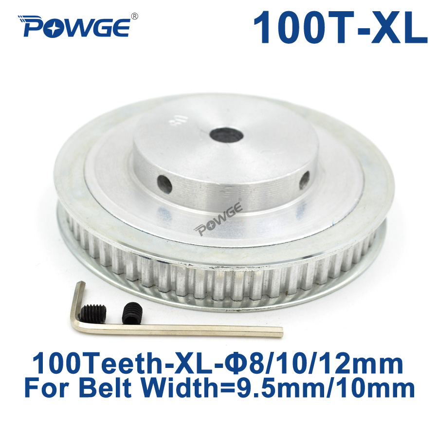 POWGE Trapezoid 100 Teeth XL Synchronous pulley Bore 8/10/12/15/20mm for width 9.5mm Timing  Belt 100-XL-037 BF 100teeth 100T