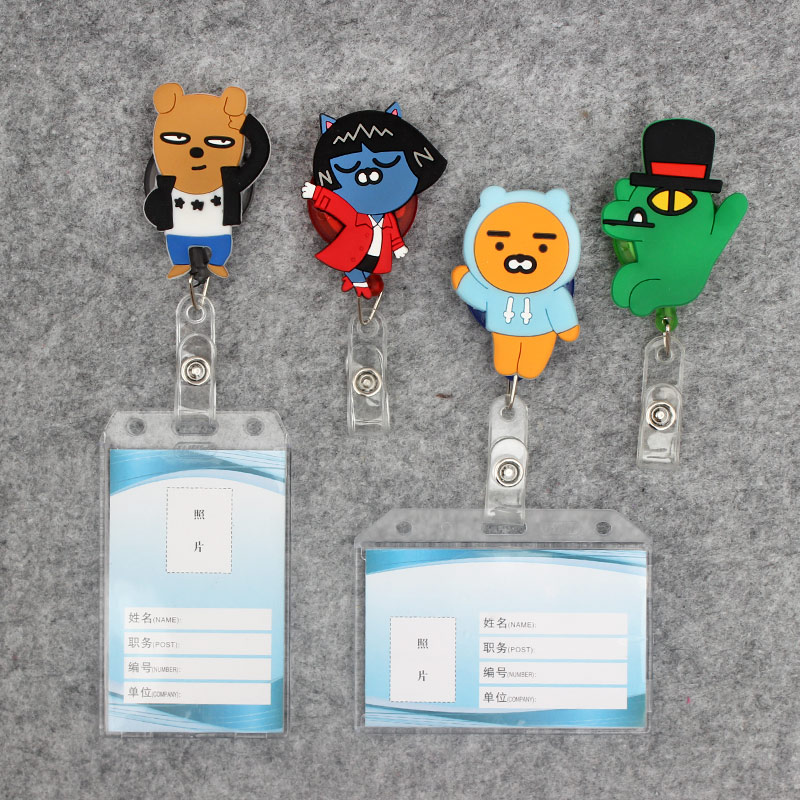 Cartoon Duck Transparent Badge Scroll Nurse Reel Cute Bear Character Scalable Cute Duck Nurse Exhibition ID Plastic Card Holder