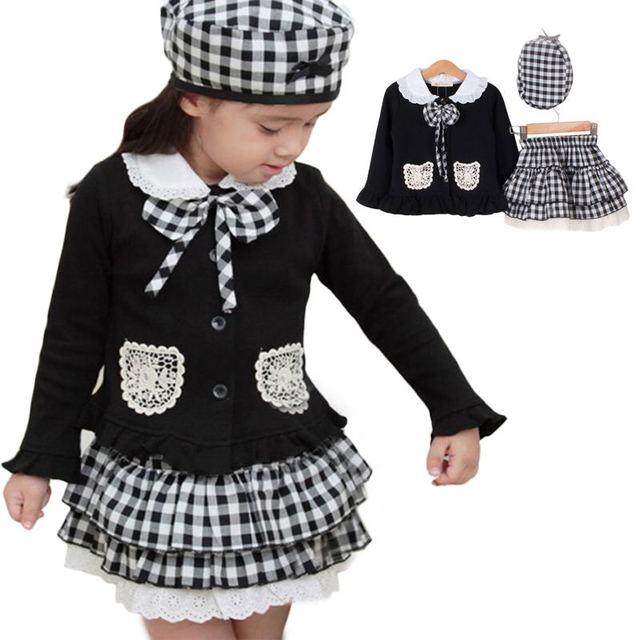 216f9e97372a 3pcs Cap+coat+Skirt Baby Girl Kids Children Toddlers Infants plaid ...