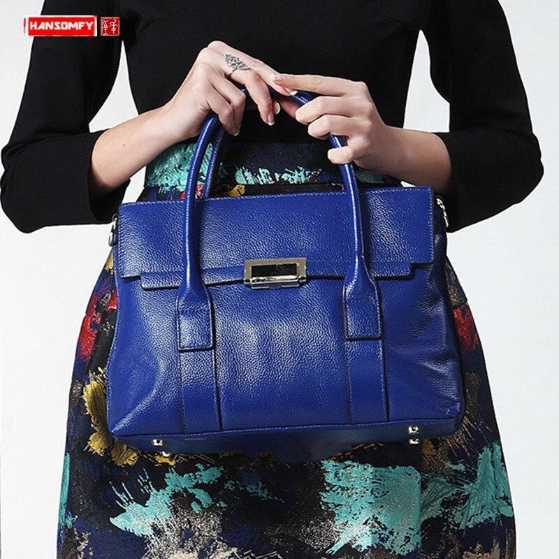 New Genuine Leather Women Handbags Big Bag Ladies Handbags First Layer Leather Shoulder Messenger Bag 14 Inch Laptop Briefcases