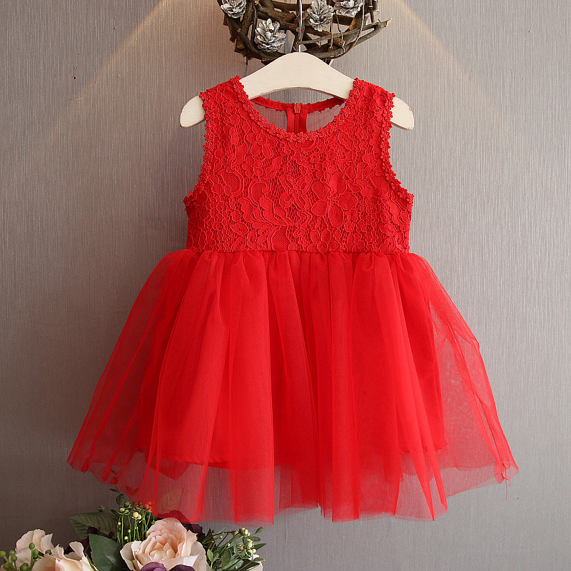 Free shipping red short formal lace sleeveless dresses girls o-neck bowknot sexy back childrens dresses for girls
