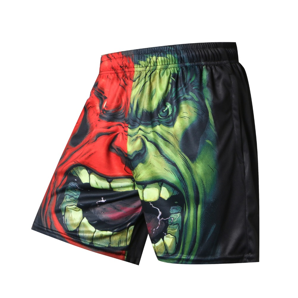 NEW Printer Men Summer Causal   Shorts   Plus Size Green Giant Print Clothing Loose Homme   Shorts   Quick Qry Polyester Trousers