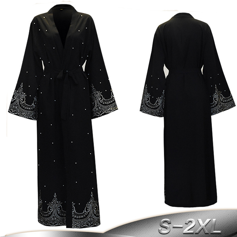 2019 Black Pearls Kaftan Abaya Dubai Turkish Islamic Muslim Hijab Dress Abayas For Women Qatar Oman Jilbab Robe Caftan Clothing