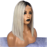 DLME Ash Blonde Bob wig with natural hairline Synthetic Lace Front Wig baby hair free shipping Ombre Grey Wigs For black women