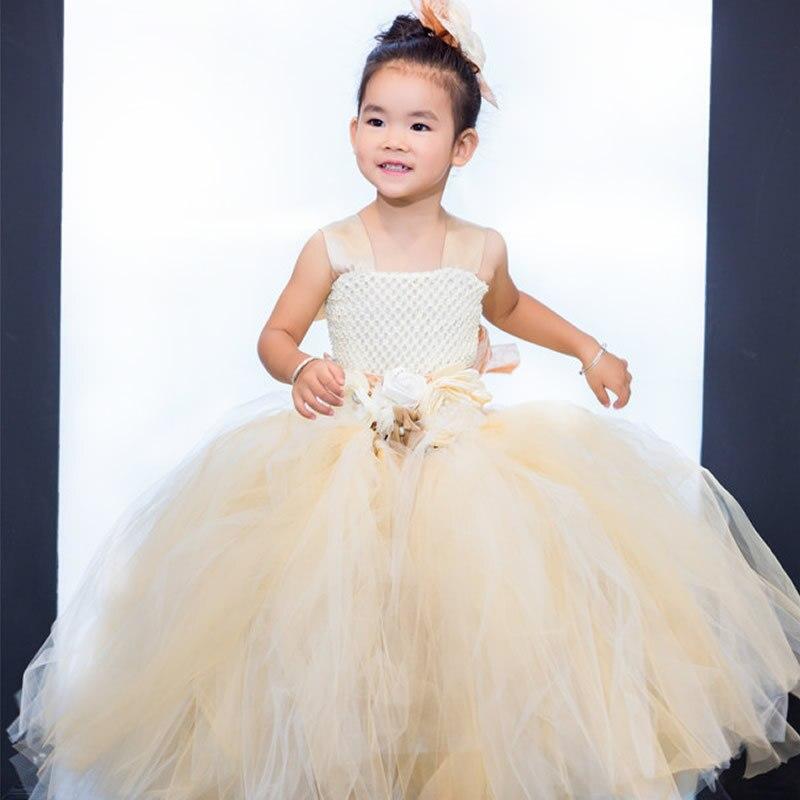 ФОТО 2016 Top quality High end Flower Girl Dresses Two yarn And Three yarn Flower 2-8Year Draped Ball Gown Evening Dress BaBy Prom