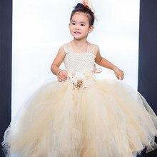 2016 Высокое качество High end Цветок Девочки Платья Два пряжи И три пряжи Цветок 2-8Year Драпированные Бальное платье Вечернее Платье Детские Пром