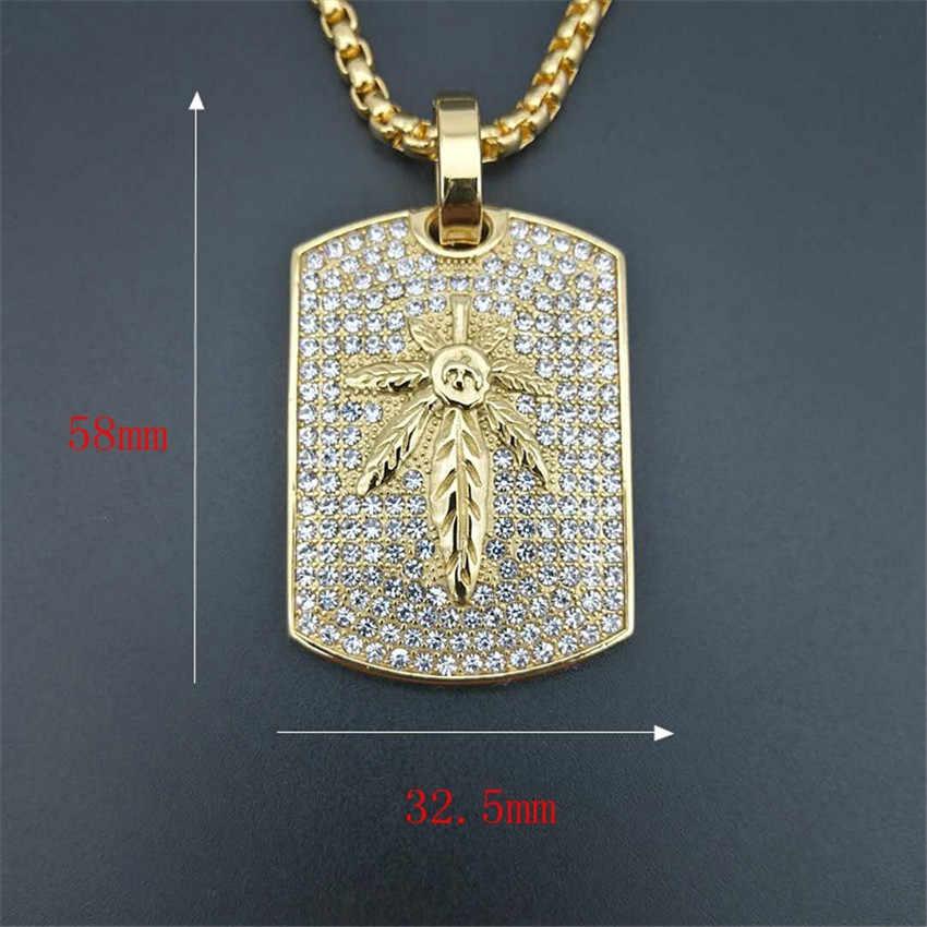 Iced Out liść konopi naszyjnik i wisiorek z łańcucha ze stali nierdzewnej złoty kolor Bling Cubic cyrkon męska Hip hop biżuteria na prezent