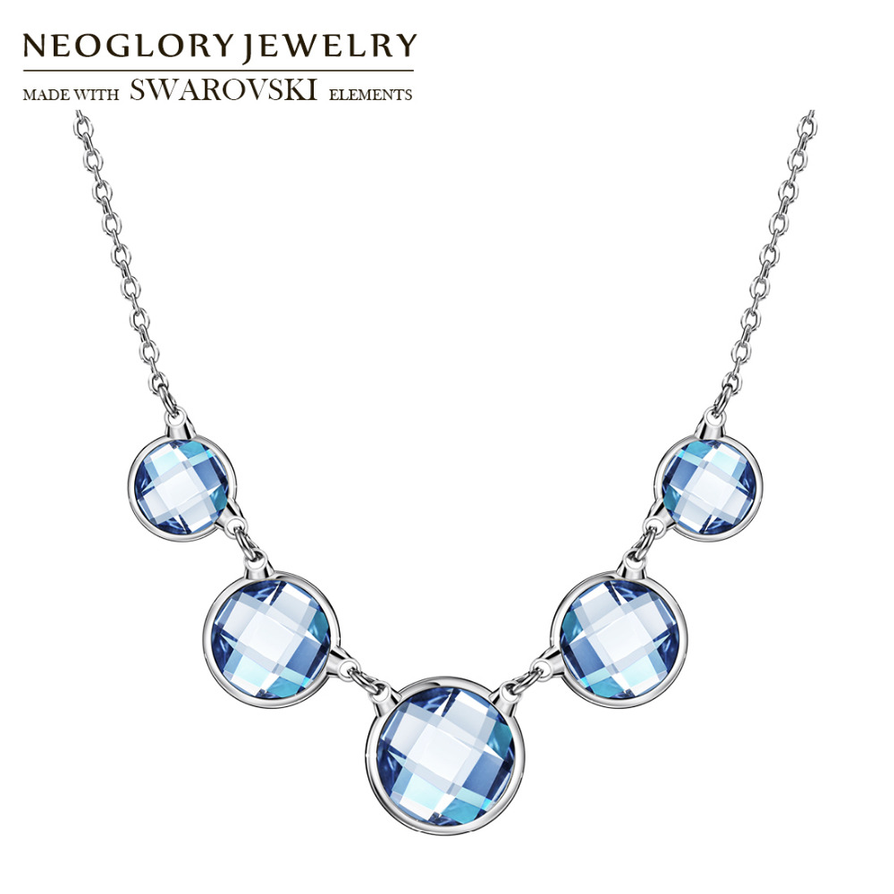 Neoglory Austria Crystal Charm Long Necklace Classic Trendy Blue Round Balls Elegant Party For Summer Sea Holiday Lady Gift neoglory austria crystal
