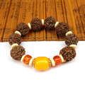 Natural Tibetan Buddhist Nepal Rudraksha mala prayer bracelet for meditation yak bone Charm Rosary Woodden Bracelet Jewelry