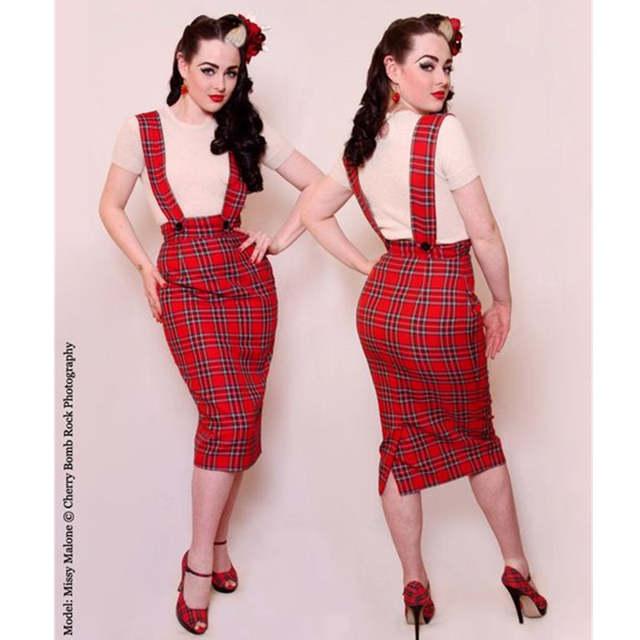 b14e7b39477 40- women vintage 50s retro pinup red tartan high waist suspender strap  pencil skirt midi