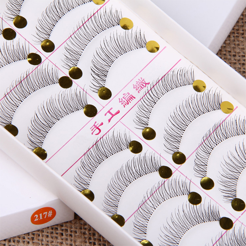 10 Pairs False Eyelashes Handmade Long Thick Natural Fake Eye Lashes Black Hot Sale Makeup Extension Tools 217