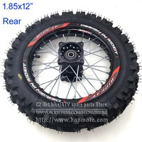 80/100 12 Guangli Tyres 1.85 x 12inch Rear Rims Wheel Steel Hub Black Wheels 32 spoke 15mm axle hole dirt pit bike Kayo Apollo