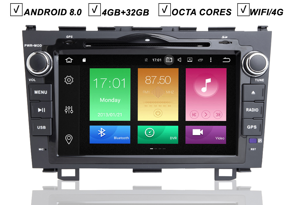 8''IPS CAR ANDROID 8.0 DVD <font><b>GPS</b></font> PLAYER FOR <font><b>HONDA</b></font> <font><b>CRV</b></font> <font><b>2007</b></font> 2008 2009 2010 2011 VEHICLE NAVIGATION RADIO BT WIFI OCTA CORE SD DAB+ image