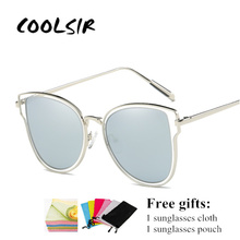 COOLSIR Women Vintage Polarized Sunglasses Coating Mirrors Points Metal Decoration Frame Glasses Driving Sun Fashion