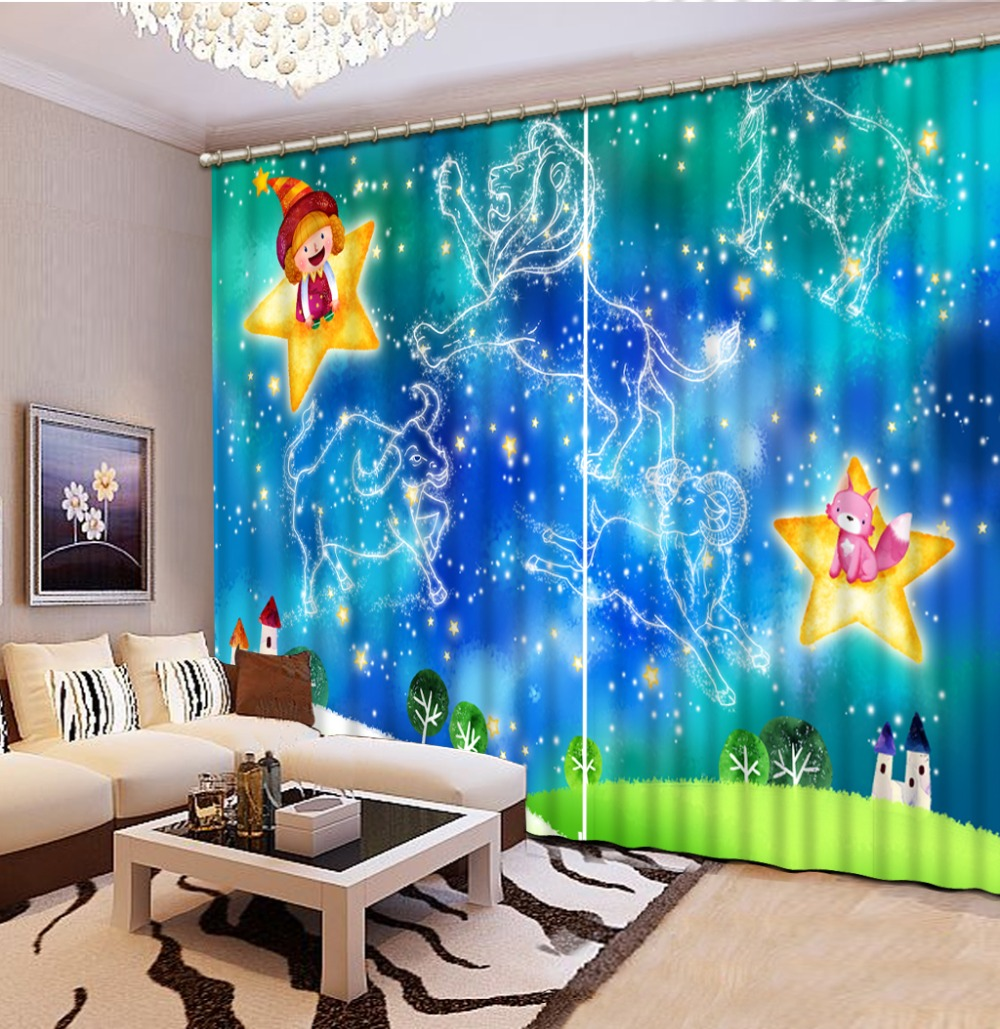 blue curtains Scenery Beauty Digital Photo Printing Blackout 3D Curtains for Living Room Bedding Room Hotel cartoon curtains