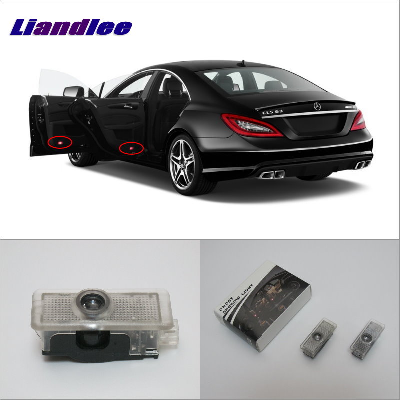 Liandlee Car Door Ghost Shadow Lights For Mercedes Benz CLS 2012~2016 Courtesy Doors Lamp Brand Logo LED Projector Welcome Light for skoda octavia led 3w welcome car door logo lights projector laser ghost 3d shadow accessories original door light replace