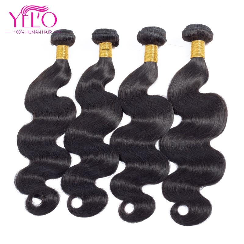 Peruvian Body Wave Hair Weave 4 csomag ajánlatok 8-30inch emberi - Emberi haj (fekete)