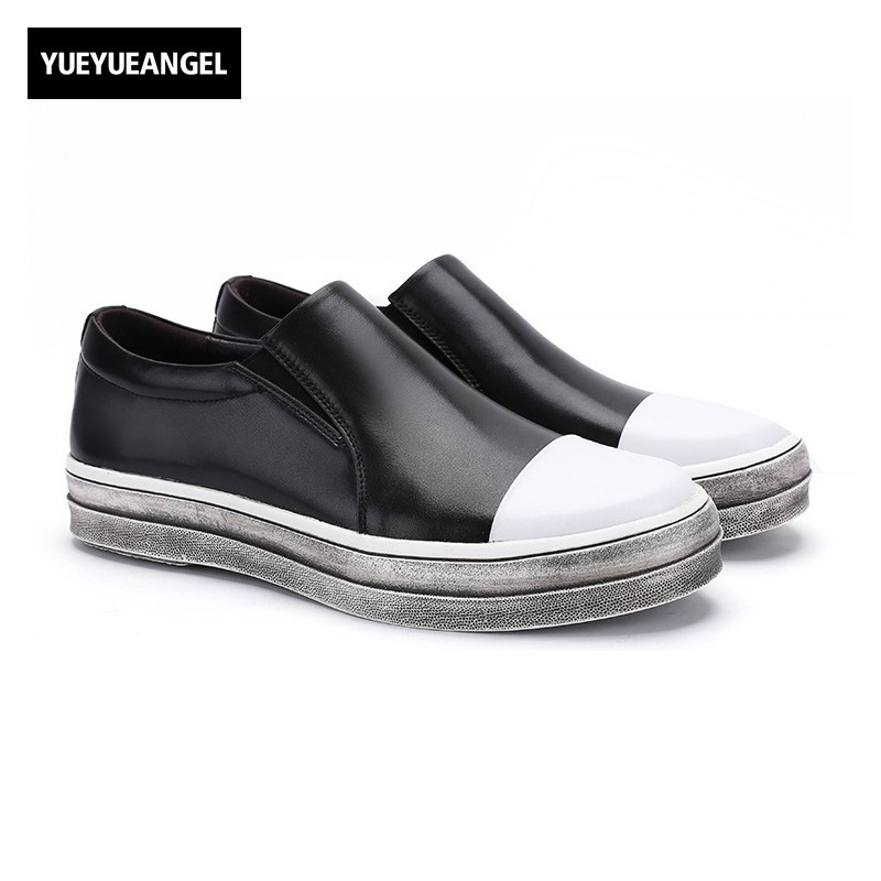 New Fashion Retro Men Shoes Comfort Genuine Leather Round Toe Slip On For Men Breathable Driving Business Shoes Flats Loafers bexzxed summer slip on men leather shoes fashion design breathable flats men loafers comfort round toe shoes men footwear