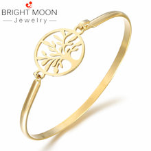 BRIGHT MOON Free Shipping Gold Bangle Zirconia Rose Gold Tree of Life Stainless Steel Bangle&Bracelets for Women Gift Jewelry недорого